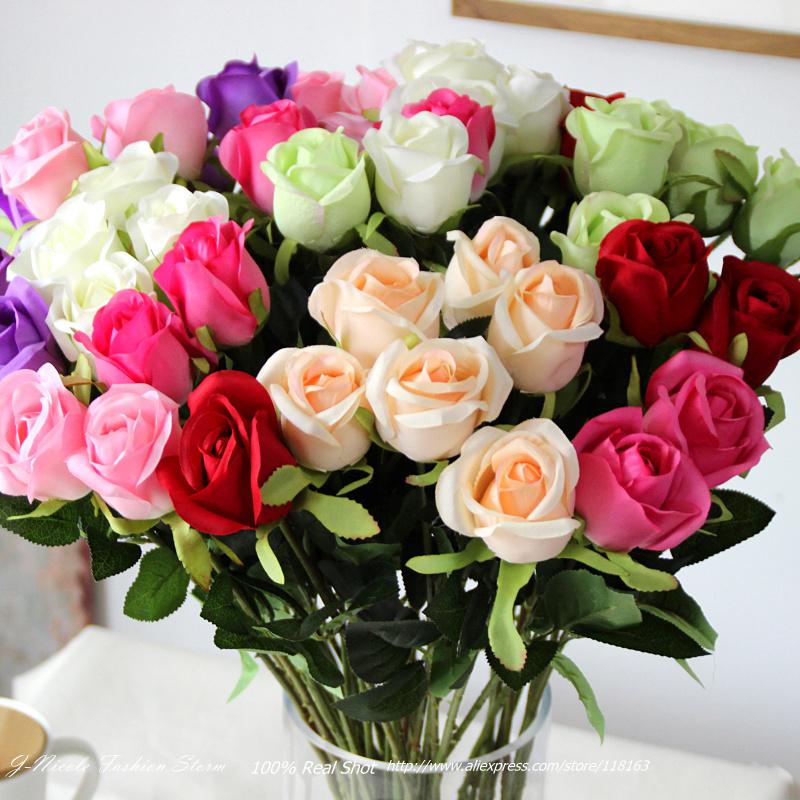 Barato seda rosa Artificial flores decorativas falso Floral nupcial do casamento Bouquet decoração arranjo da festa 10 pçs/lote(China (Mainland))