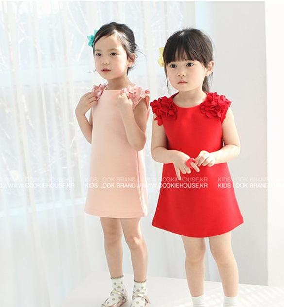 D05 wholesale girl o-neck flower cotton loose dresses children plus size summer spring thin soft dresses(China (Mainland))