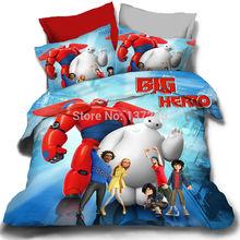 Cama definir 3 / 4 pcs rei queen size de solteiro completo roupa de cama de algodão grande herói dos desenhos animados crianças double duvet colcha tampa de cama 3d lençol de linho(China (Mainland))