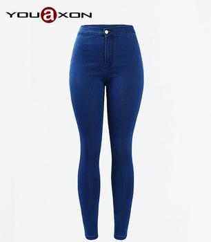 1894 YouAxon Большой размер горячая стретч джинсы высокой талией узкие брюки истинные ...