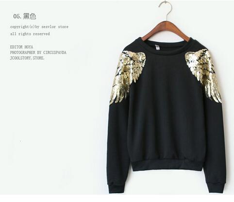 Gagaopt fashion print golden wing on the front sweatshirt(China (Mainland))