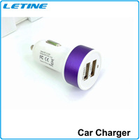 High Quality Micro Auto Universal Dual 2 Port USB Car Charger Adapter for Iphone ipad Samsung Cigar Socket Free Shipping