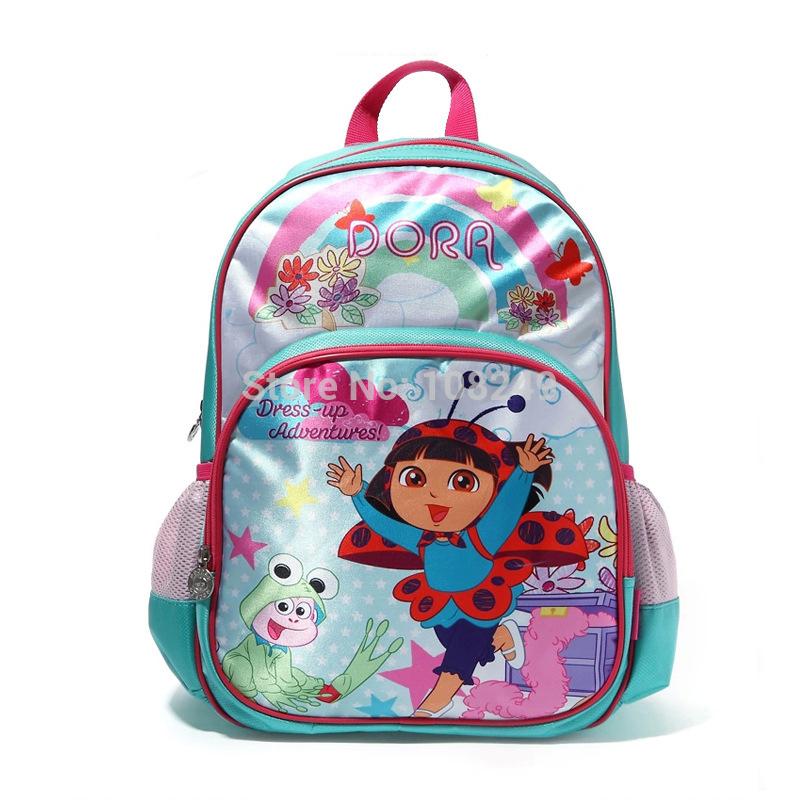New Arrival Girls Child Cartoon Animal Dress Up Dora Backpacks Amazing Primary Children School Student Polyester School Bags(China (Mainland))