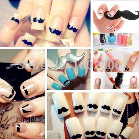freeshipping 50set Fashion Lovely Black Mix Designer Beard Mustache 3D Nail Art Polish Sticker French Stickers Promotion(China (Mainland))