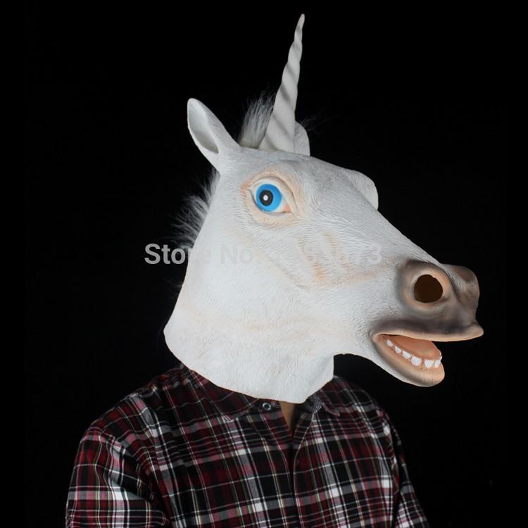 High quality Creepy Costume Party Full environmental protection Unicorn Horse Latex Head Mask Mythology Fancy Prop Free Shipping(China (Mainland))