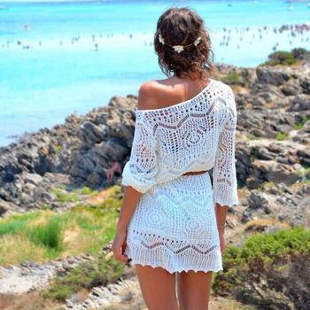 2015 новинка женщины сексуальное выдалбливают белый кружева платье-плеча пляж платья ну вечеринку