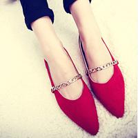 Fashion ol elegant fashion women shoes metal chain flats shallow mouth pointed toe flat heel women single shoes wedding shoes