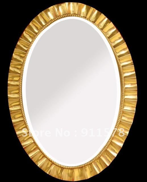 Free Shipping Oval Decorative Mirror Design With PU Frame For Home Interior(China (Mainland))