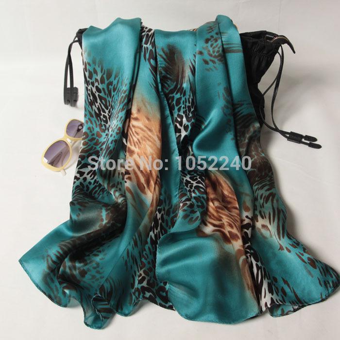 China Silk World ! Women's fashion georgette satin silk scarf / mulberry silk shawl / leopard silk cape female(China (Mainland))