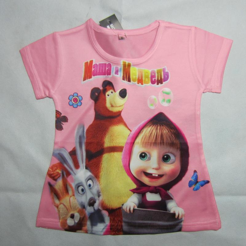 2015 New Summer Fashion Printing Cartoon Hello Kitty T-shirt Masha And The Bear Girl T Shirt Masha E Orso Tshirt Girls(China (Mainland))