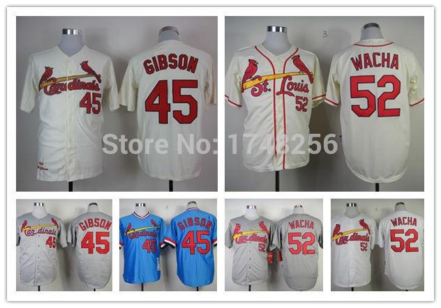 Free Shipping St.Louis Cardinals #45 Bob Gibson #52 Michael Wacha Jersey authentic Baseball 100% Stitched Logos Jersey(China (Mainland))