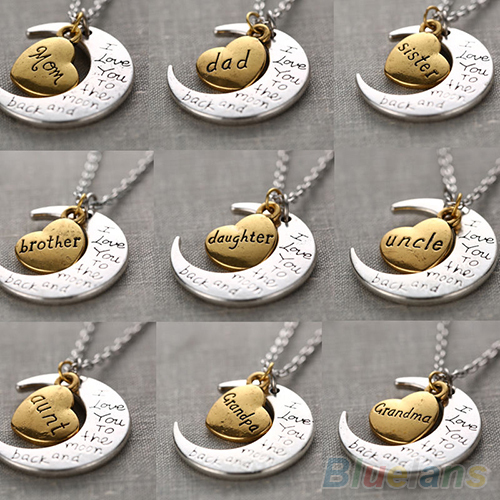 I Love You To The Moon And Back Family Mom Birthday Silver Gold Pendant Necklace 2MSD