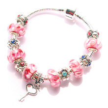 New arrive 925 silver pink flower Murano glass beads Fit Pandora link Bracelet bangle for women fashion jewelry s-81
