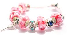New arrive 925 silver pink flower Murano beads Fit Pandora link Bracelet bangle for women fashion