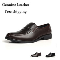 2015 New genuine leather oxford shoe for men Real cow leather solid & slip-on office men's shoe High quality career oxford