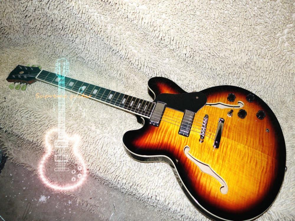 Wholesale and retail Vintage TS Burst 335 Custom Hollow Jazz Guitar Ebony fingerboard Free Shipping(China (Mainland))