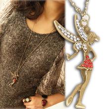 New hot sale Women's Fashion Vintage Little Fairy Crystal Pendants Necklace Charm Jewelry NL-0429