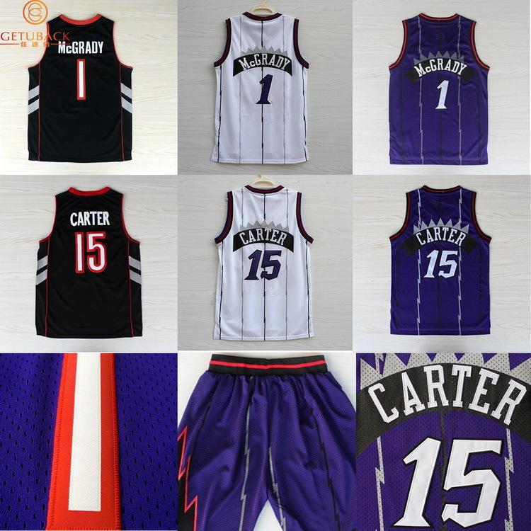 2015New Toronto Vince Carter Tracy McGrady basketball jersey New Material Rev 30 retro shorts Embroidery throwback jerseys NA073(China (Mainland))