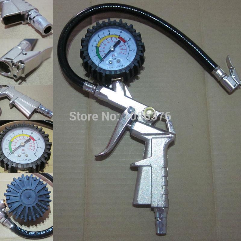 Repair Tool Car Bike Truck Tire Pressure Inflator Pistol Type w/ Dial Gauge 0-220psi(China (Mainland))