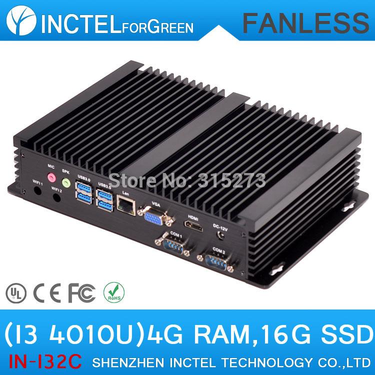 Fanless mini industrial pc cloud terminal pc terminal with Intel i3 4010u processor 2 COM 4 USB3.0 with 4G RAM 16G SSD(China (Mainland))
