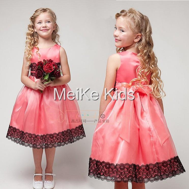 Wholesale 5pc/ lot Baby girls kids child rose flower lace chiffon party evening wedding bridesmaid dresses clothes Size 100-140(China (Mainland))