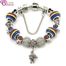 2015 New Design Cupid Charm Maruno Glass Bead Jewelry Charm Bangle Bracelet For Women Free Shipping CRL75