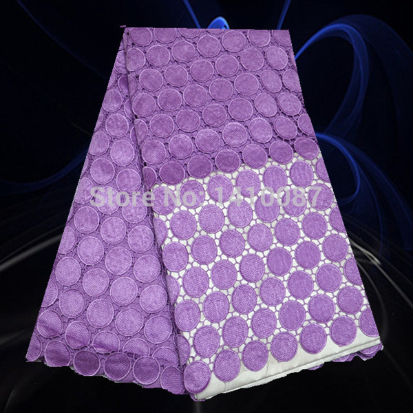 PSL36-4 High Quality Polyester Fabric Swiss Voile Lace Fabric Lavender Clothing Embroidery Good Selling(China (Mainland))