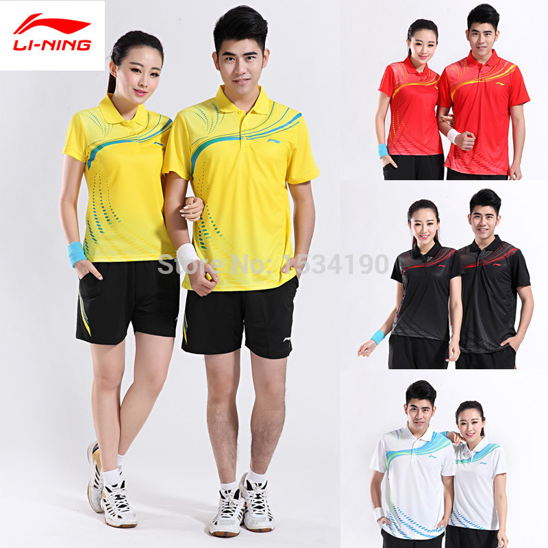 2015 New LINING Polyester Quick Dry Men and Women Couple Models Badminton Training Tennis Sport Polo Shirt AAYH405(China (Mainland))