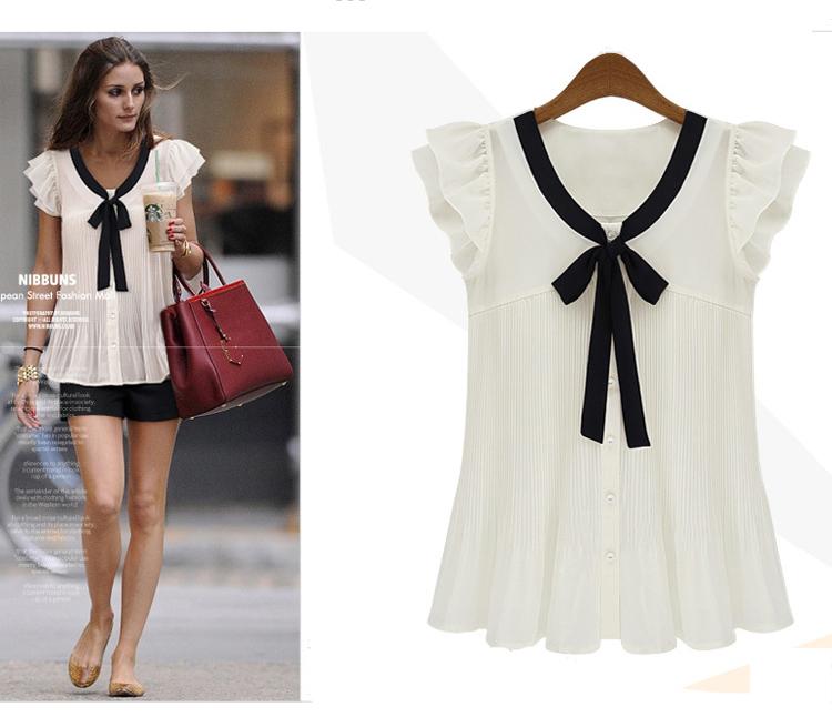 woman shirt summer kimono chiffon polka dot blouse cal haoduoyi blouse Butterfly Sleeve Casual Short Bow Shirt Free Shopping(China (Mainland))