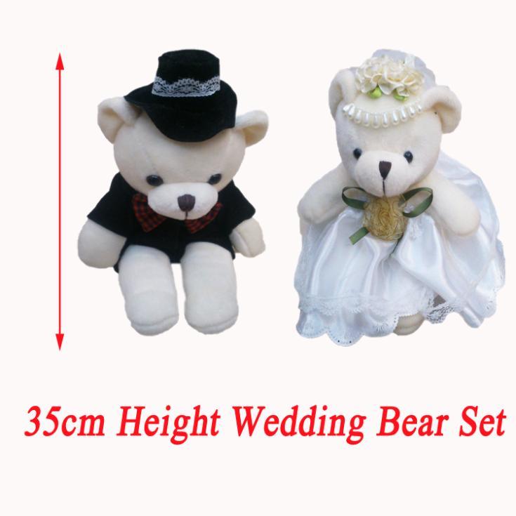 "35CM(13.8"") Plush Bear Giant Wedding Teddy Bear Black Groom White Bride Stuffed Animals Toys Car/Bouquet Plush Dolls 4pair/lot(China (Mainland))"
