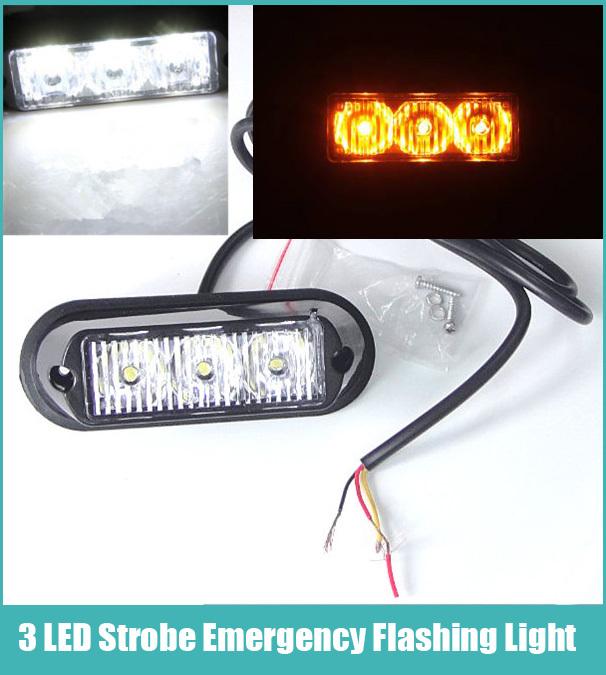 Free Shipping! Amber Xenon White 3 LED Car Truck Vehicle DC 12V Waterproof 3 LED Car Truck Emergency Flash Strobe Bulb Light(China (Mainland))