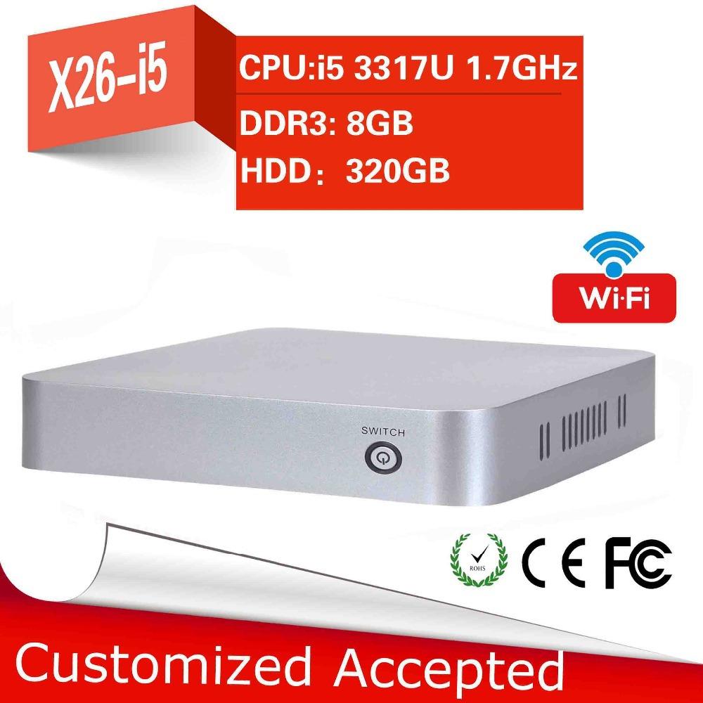 YCSD Intel Core I5 3317U Dual core 8gb Ram 320gb HDD Fan Industrial Computer Mini PC Linux Hdmi Thin Client 4 USB(China (Mainland))