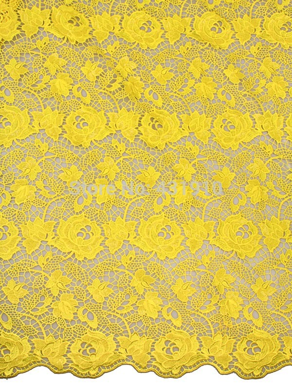 African Lace Fabric Cord Lace Yellow Flower Patterns For Wedding Party p4008_11(China (Mainland))