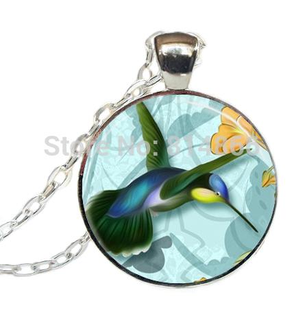 (BUY 3 GET 1 FREE )Hummingbird Necklace, Hummingbird Jewelry, Emerald Green and Blue Bird,Nature Glass Picture Pendant(China (Mainland))