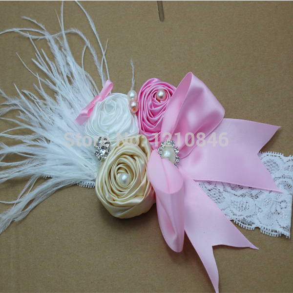 2015 rhinestone feather lace Headband Baby Girl satin bow rosettes Flowers Headbands Kids' Christmas Hair Accessories 120pcs/lot(China (Mainland))