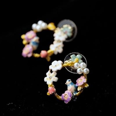 Presentes de natal para mulheres vestido jóias da moda redondo elegante pássaro esmalte flor brincos(China (Mainland))
