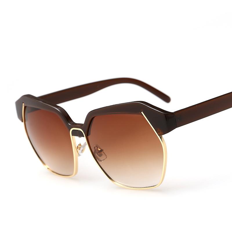 Gold Sunglasses Womens Women Metal Gold Half Rim