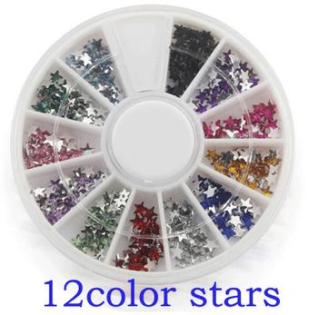 Одной коробке 12 цветов мода ногтей украшения супер яркая вспышка формы звезды горный ...