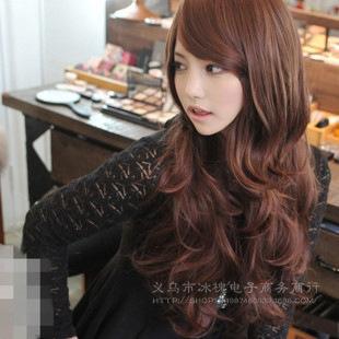South Korea fashion women's long hair big wave oblique Liu Haifa shave hair Yiwu factory wholesale(China (Mainland))