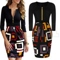 Sexy OL Vestidos Women Elegant Zip Patchwork Tunic Slimming Dress Work Casual Bodycon Color Block Party
