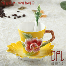 European style flower pattern bone china Coffee cup set kung fu tea cup coffee mugs with spoon and saucer