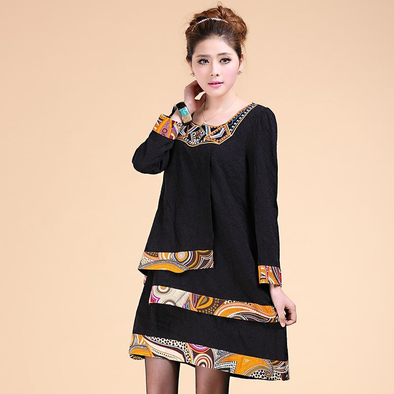 Large Size Women Retro Ethnic Style Dress Vestidos 2015 Plus Size Women Embroidery Long Sleeve Dress Stitching Big Size Clothing(China (Mainland))