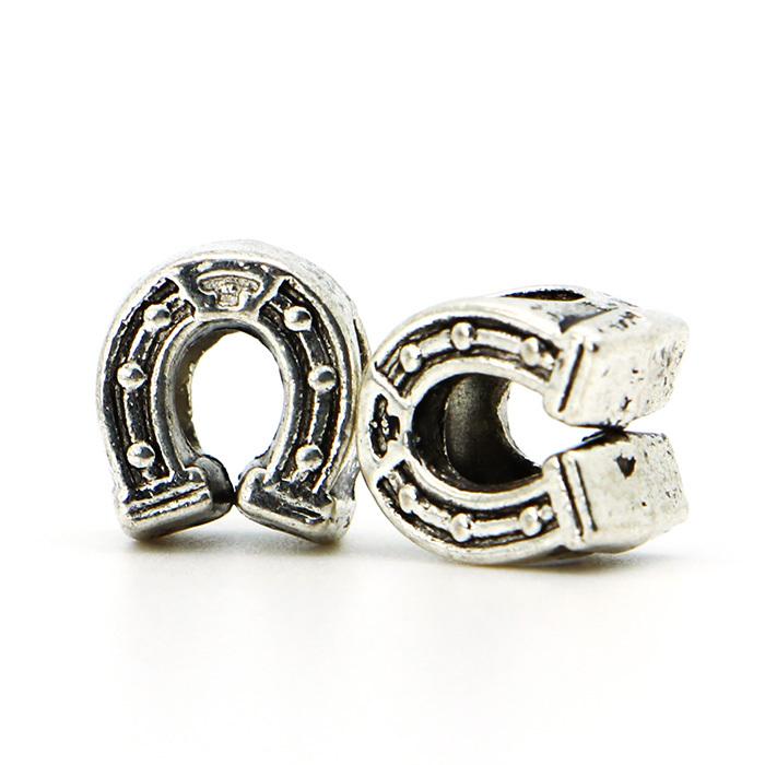 1piece European Big Hole Alloy Bead Fashion Silver Plated Horse Hoof Bead Fits Charm Pandora Bracelets