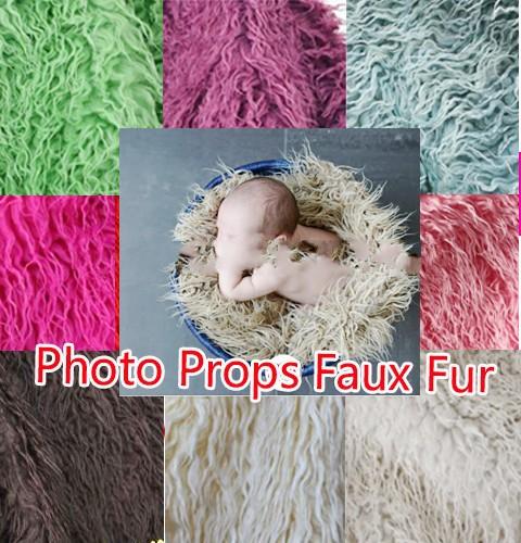 100x150cm Mongolian Faux Fur Wool Blanket Newborn Baby Photography Background Backdrops Photo Props Rug Long Hair Beach(China (Mainland))