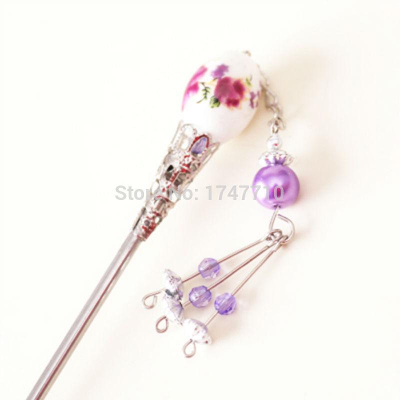 Hot Original Classical Ceramic Bead Hairpin / Step Shake Fringed / Tangzhuang Hanfu Hair Accessories(China (Mainland))