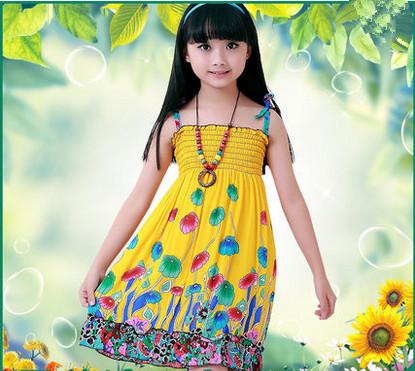 2-9 Year-Old Girl Dresses ,2015 Summer Kids Clothes Floral Bow 100% Cotton Girl Dress Sundress Girls Beach Dress(China (Mainland))