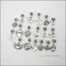 Free shipping!  18pcs  Love  Tibetan silver Bead Charm big hole pendant fit Pandora charm bracelet DIY pendant. X071