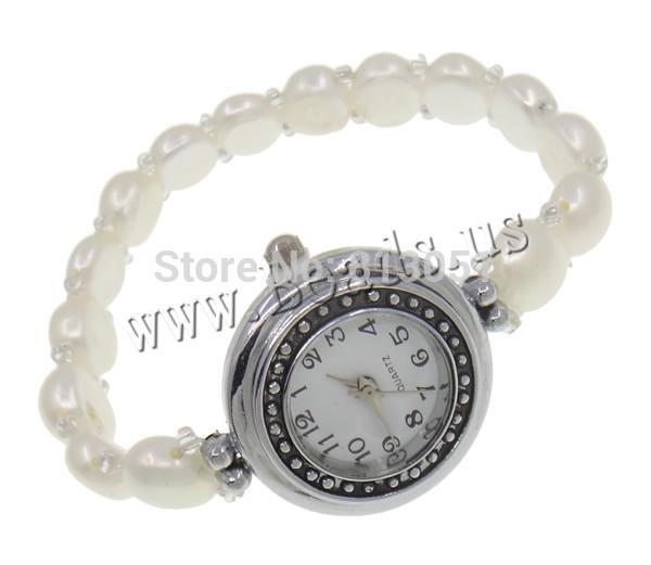 Free shipping Freshwater Pearl Watch Bracelet DIY Jewelry DIY with zinc alloy dial Glass Seed Bead