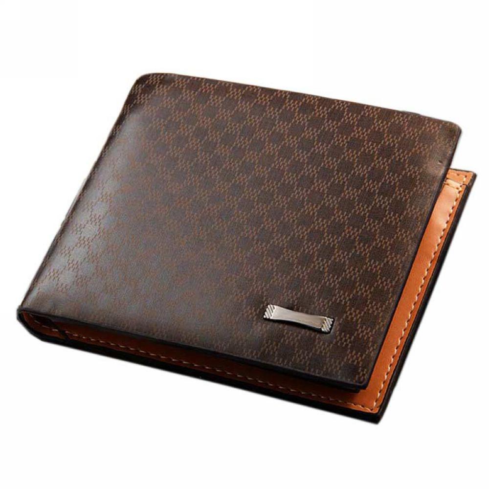 Local Stock, Fashion Plaid Genuine Leather Wallet Men Luxury Business Bifold Men Wallets Purse Money Bag Male Y57*M096#M5(China (Mainland))