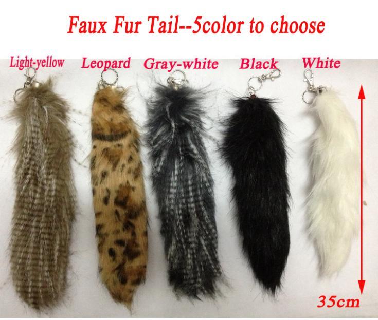 "Fashion 14"" Inches Faux Fur Tail Pendants Key Chain Accessories For Car/Cellphone/Handbag(China (Mainland))"